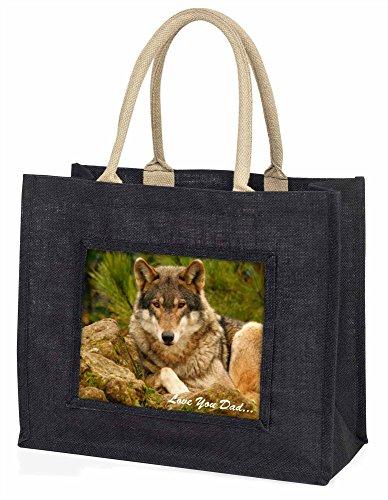 Advanta–Große Einkaufstasche Wild Wolf Love You Dad Große Einkaufstasche Weihnachtsgeschenk Idee, Jute, schwarz, 42x 34,5x 2cm