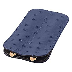 Leather Double Pen Sleeve, Ostrich Leather, Blue, Fits 2 Pens