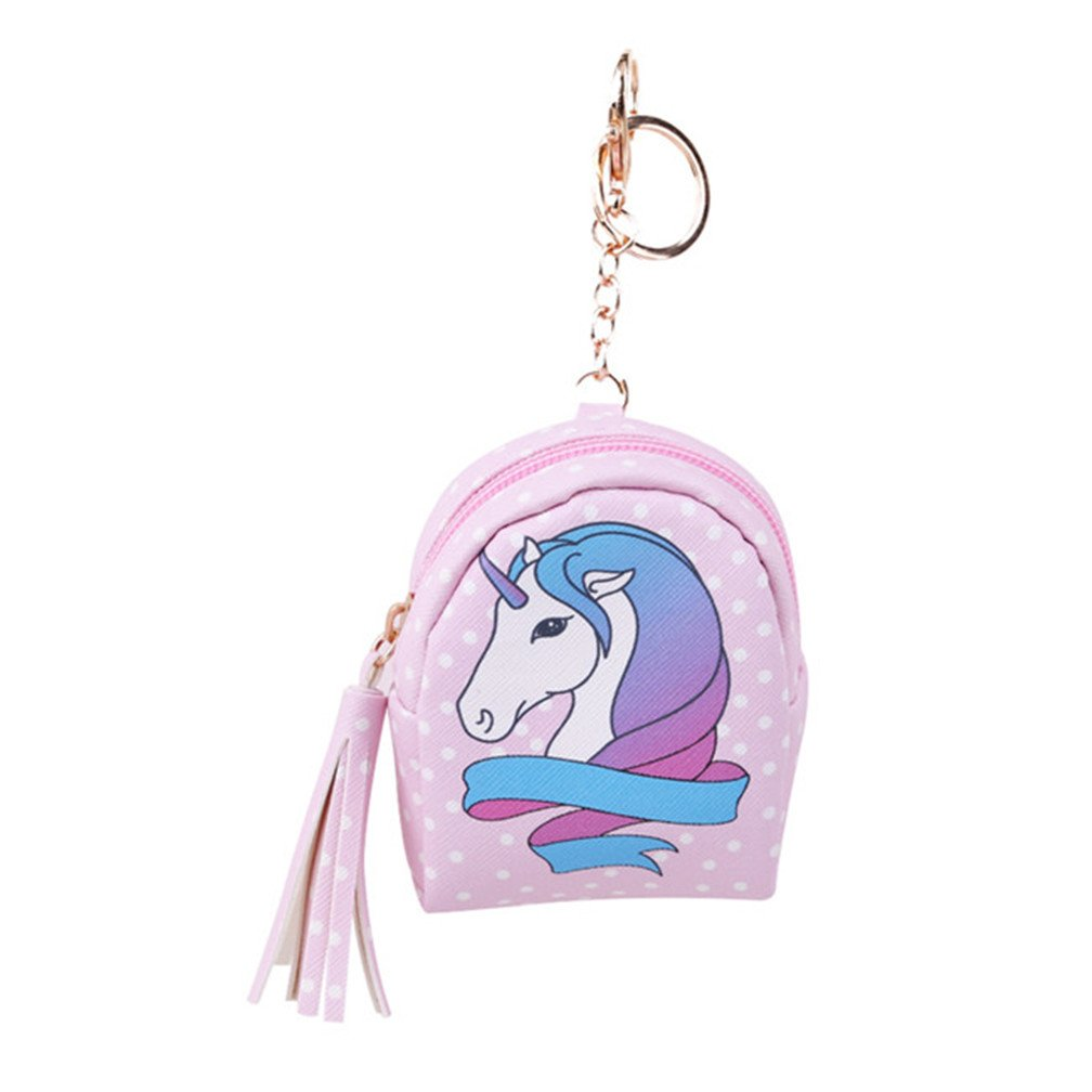 LJSLYJ Mini PU Unicorn Wallet Card Key Holder Zip Coin Purse Clutch Bags (Pink dots)
