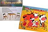 Kid's Folding Table and Chairs Set with Farm Animal Barn Scene