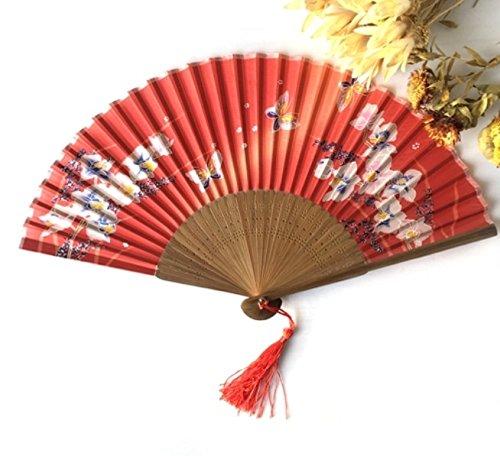 Red 10Pcs/Lot 21Cm Japan 100% Silk Bamboo Asian Pocket Fan Butterflies Sakura Folding Hand Fan Wedding Gift Hand Fan by Hand Fan
