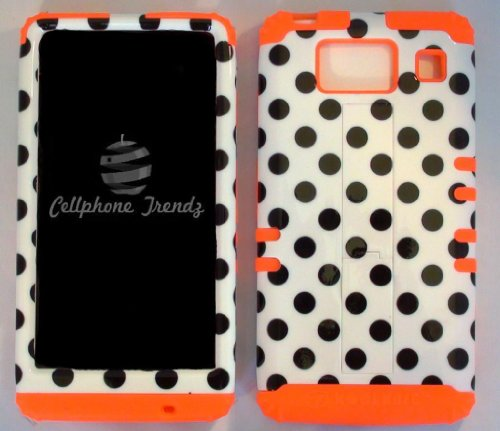 (Cellphone Trendz (TM) Hybrid 2 in 1 Case Hard Cover Faceplate Skin Orange Silicone and Black Big Polka Dots White Snap Protector for Motorola Droid Razr Maxx HD XT926M by Verizon (Not for Droid Razr Maxx) + Free Wristband Accessory - Cellphone Trendz (TM))