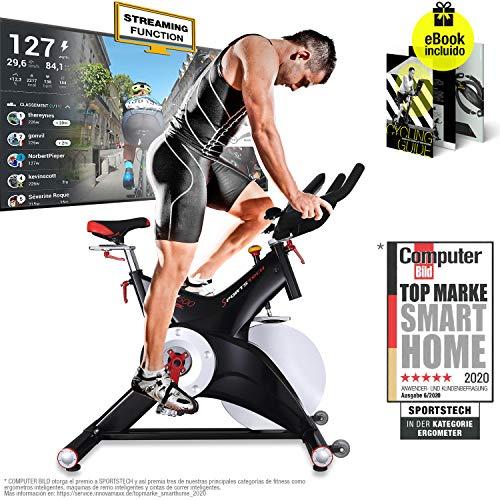 Sportstech Bicicleta estática Profesional SX500 -Marca de Calidad Alemana -Eventos en Vivo y App Multijugador, Volante…