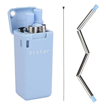 Collapsible Reusable Stainless Steel Straw, Foldable Drinking Straws  Food-Grade Portable Straw Set with Hard Case Holder Cleaning Brush Keyring  for