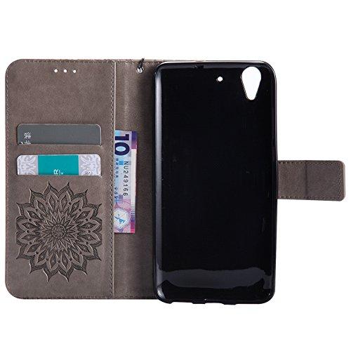 YAJIE-Carcasa Funda Para Huawei Honor 5A / Huawei Y6 2, Diseño de la impresión de la flor de Sun Cuero de la PU Tirón Cartera funda protectora con ranura para tarjeta de soporte ( Color : Green ) Gray