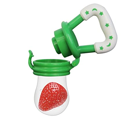 Q4U New Baby Dummy Pacifier Fresh Food//Fruit Feeder Feeding Nipple Weaning Teething Nipple Teat Pacifier Tether Soother M, Blue