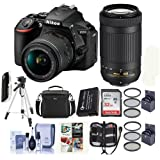 Nikon D5600 DSLR Camera Kit w/AFP DX 18-55mm f/3.5-5.6G VR and AFP DX 70-300/4.5-6.3G Lenses - Bundle with Camera Case, 32GB SDHC Card, Cleaning Kit, Spare Battery, Tripod, Software Package and More