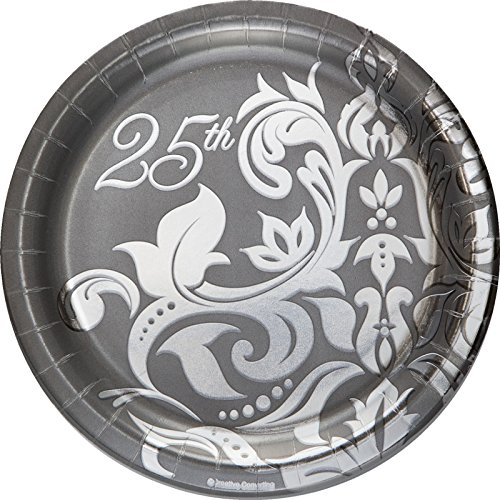 Creative Converting 18 Count Silver Anniversary Paper Lunch Plates, 7