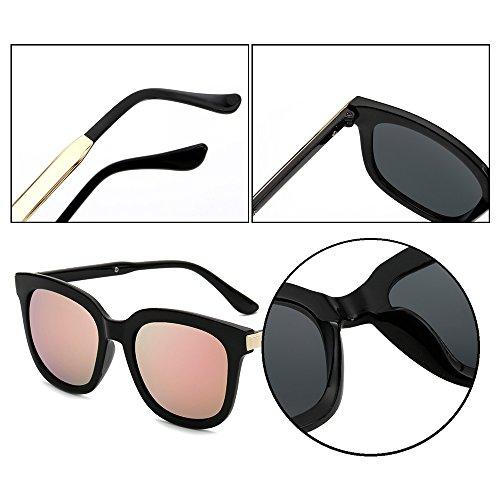 protection femmes de Cadre lunettes unisexes Lunettes soleil lunettes de ovales KINDOYO Rose lunettes lunettes soleil UV400 de miroir soleil Lentille polarisées non mode de Noir hommes soleil et 640HTwHq