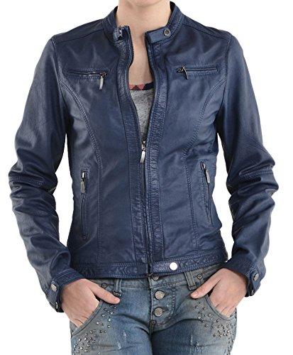 Junction Junction Femme Blouson Leather Blouson Bleu Leather RPqX5tw
