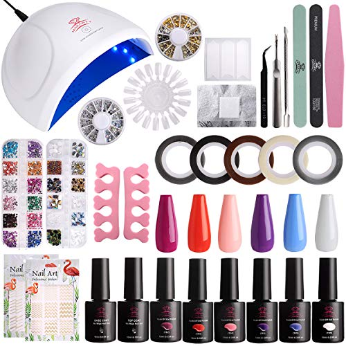 Makartt UV Gel Nail Polish Set Starter Kit DIY Home Gel Kit Set with 6 Colors 24W LED Nail Dryer Lamp Base Top Coat and Manicure Tools Nail Art Supplies Set P-16