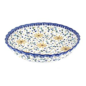 Blue Rose Polish Pottery Yellow Daisy Pie Plate