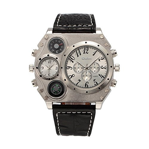 Oulm Analog Dual Sub Dials Leather Sports Mens Watch With Compass  Gorben Box