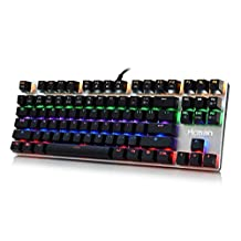 Hcman Gaming Mechanical Keyboard LED Backlit with Blue Switches,87 Keys Anti-ghosting for PC & Mac Gamers (Black)