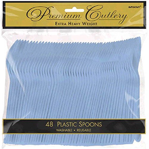 (Amscan Heavyweight Pastel Blue Plastic Spoons, 48 Ct. )