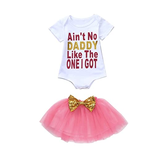 ee7e58678403d Amazon.com: Hatoys 2PCS Baby Girls Letter Romper+Tutu Skirt Clothing ...