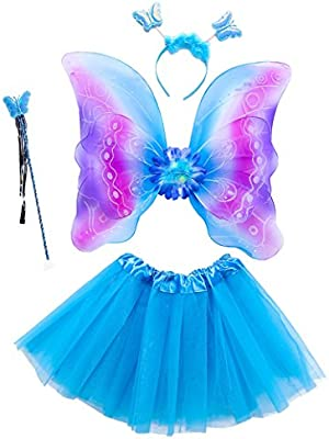 Purple Single Layer Magical Fairy Wings Wand Headband Fancy Dress up Costume Outfit