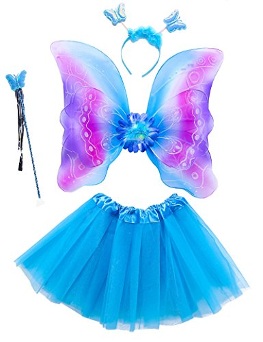 Lujuny Kid Fairy Wing Costume Set - Butterfly Wings Tutu Dress Magic Wand and Headband (RAINBOW BLUE) -