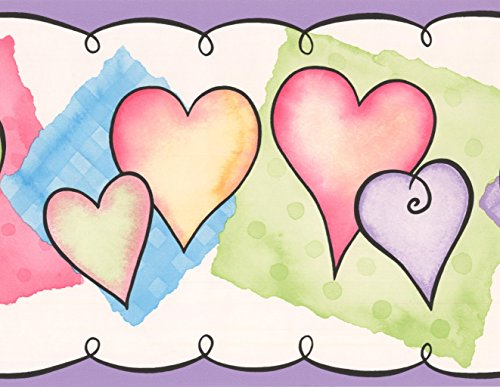 Red Blue Purple Hearts White Wallpaper Border for Kids Teens, Roll 15' x 7''