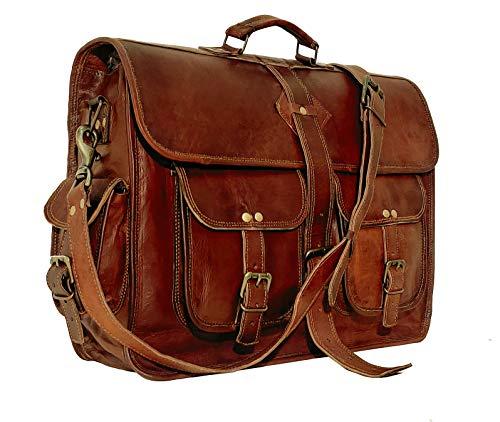 VC 18 Inch Vintage Handmade Leather Messenger Bag Laptop Briefcase Computer Satchel Bag for Men