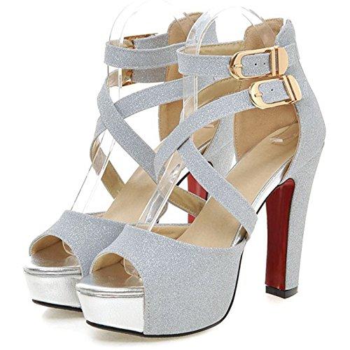 Summerwhisper Women's Sexy Peep Toe Buckle Ankle Strap Back Zipper Chunky High Heel Platform Strappy Sandals Silver 9 B(M) - Sexy Buckle