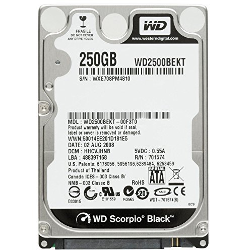Western Digital (WD) Black 250 GB (250gb) Mobile Hard Drive: 2.5 Inch, 7200 RPM, SATA II, 16 MB Cache-1 Year Warranty for Laptop, Mac, PC, and PS3 (Hard Disk Gb Laptop 250)