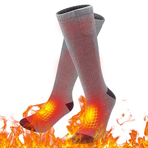 upstartech Elektrische Socken,lektrische Beheizte Warme Socken Thermal Warm Heated Socks Sneaker Socken Herren Damen schwarz Baumwolle Sportsocken für Fuß wärm eregelungIdeal Fußwärmer (Grau)