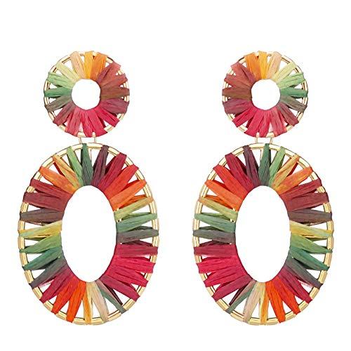 (Colorful Oval Raffia Earrings Bead Statement Geometric Woven Straw Colorful Earrings Drop Dangle Hoop Earrings Heart Boho Hollow Earrings Summer Wear Gifts for Teens Girls)