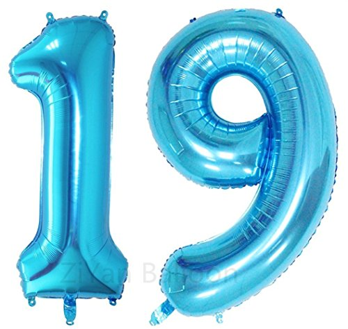 ZiYan 40 Inch Giant 19th Blue Number Balloons,Birthday/Party