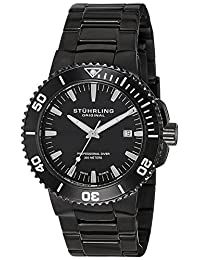 Stuhrling Original Men's 749.03 Aquadiver Regatta Corvet Swiss Quartz Professional Diver Black Bracelet Date Watch