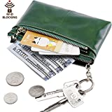 Itslife RFID BLOCKING Triple Zipper Leather Mini Coin Purse Card Holder with Key Chain (Green)