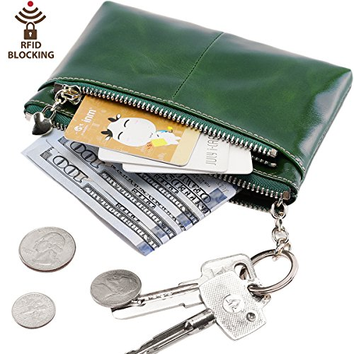 Itslife RFID BLOCKING Triple Zipper Leather Mini Coin Purse Card Holder with Key Chain ()