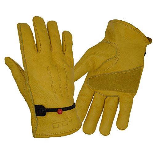 Handlandy Leather Work gloves for Men & Women, Adjustable Wrist for Construction, Driver, Gardening, Wood Cutting (Large, Yellow) (Leather Chore Glove)