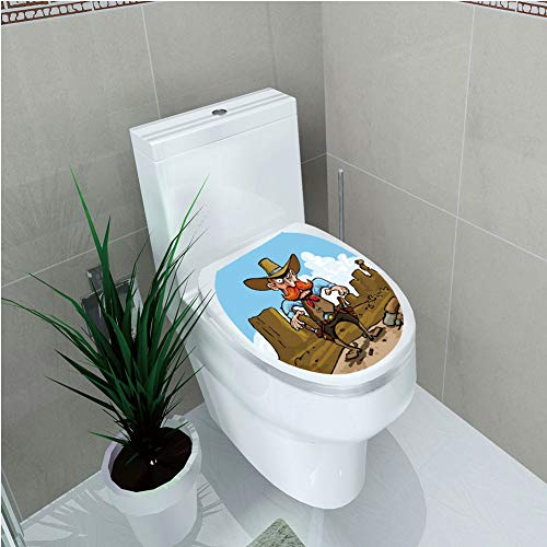 Toilet Cover Sticker,Western,Aggressive Cowboy Ready to Draw His in Cartoon Style Countryside Desert Lands Decorative,Multicolor,Custom Sticker,W11.8