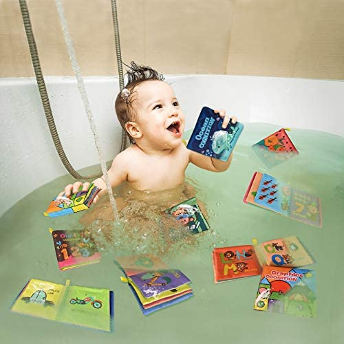 51Rd1jRFkOL. AC - Baby Bath Books,Nontoxic Fabric Soft Baby Cloth Books,Early Education Toys,Waterproof Baby Books For Toddler, Infants Perfect Shower Toys,Kids Bath Toys Best Gift(Pack Of 8)