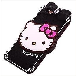 dcbb13885820fe iphone 6S Plus Hello Kitty Case iphone 6 Plus Cartoon Case,MODEFAN Cute 3D  Cartoon Black Crystal Hello Kitty Style Rubber Silicone Soft Gel Skin Case  Cover ...