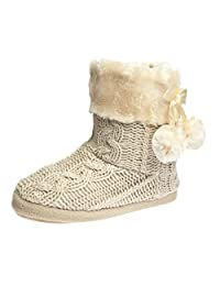 Ladies Slippers Women's slipper Boots Faux fur lined with pom poms