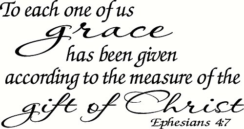(Ephesians 4:7 Wall Art, To each one of us grace has been given according to the measure of the gift of Christ, Creation Vinyls)