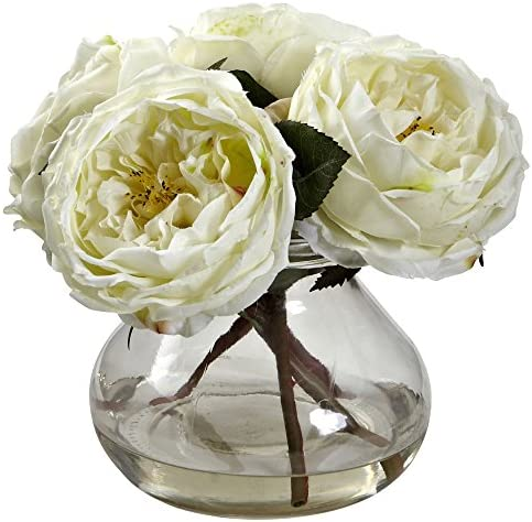 Nearly Natural 1391-WH Fancy Rose