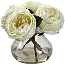 Nearly Natural 1391-WH Fancy Rose with Vase, White