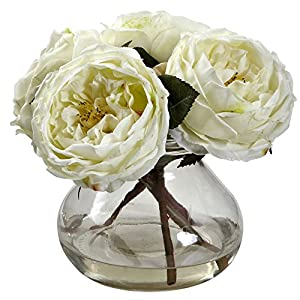 GREATHOPES White Fancy Rose Artificial Flower Decorative w/Vase 31