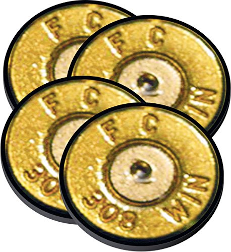 308 Winchester Caliber Bullet Neoprene Coaster Set of 4 Pistol Rifle NRA Hunter