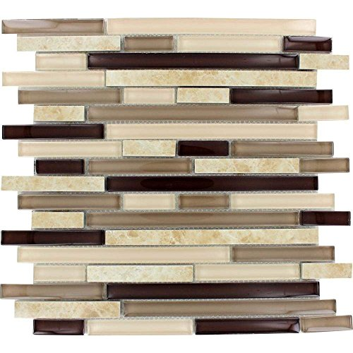 Amalfi Cafe Interlocking 12 in. x 12 in. x 6 mm Glass and Porcelain Mesh-Mounted Mosaic Wall Tile (5) ()