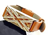 BSI Brown Leather Straps Band With Crystal Diamonds Encrusted Rose Gold X ...