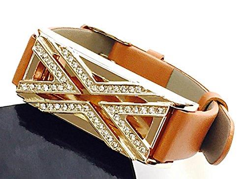 "BSI Brown Leather Straps Band With Crystal Diamonds Encrusted Rose Gold X Design Metal Housing For Fitbit Flex Activity Tracker Adjustable Size 5.5 - 7.5"" Crystal Flex Bracelet"