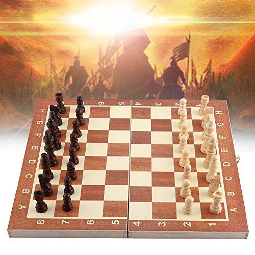 木製風 チェスボード チェス セット おもちゃ 知的ゲーム 高級感 折り畳み式 チェス盤 チェス駒 収納可能 持ち運びに便利 バックギャモンもチェッカーズもOK 分析力・判断力・予測力を育てる 学校/旅行/室内に適用 サイズ 34x17x3.5cm