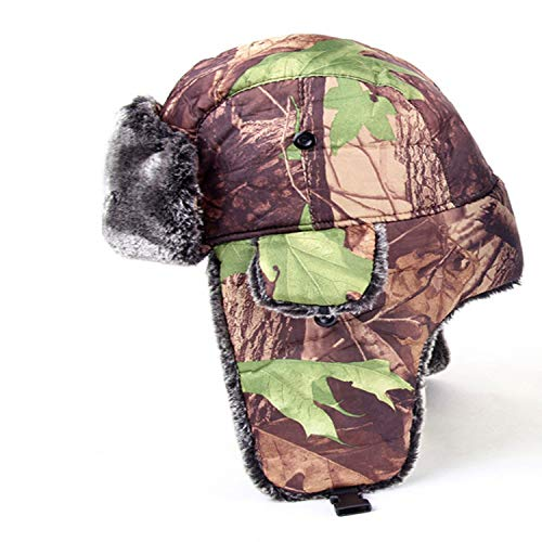 Outdoor Hunting Head Wear Trapper Winter Hat Mens Camouflage Bomber Hat Russian Hunters Cap,Model B,ONE Size
