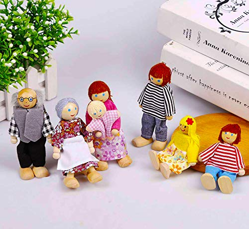 (7-Piece Poseable Wooden Doll Family Happy Dolls for Dollhouse)