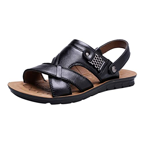 6fc51f99814d82 Creazrise Mens Leather Breathable Leather Beach Sandals Walking Slides  Outdoor Slippers Black