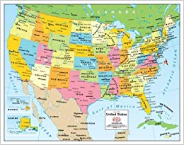 map of the United States Gloss Laminated Small Phoenix Mapping